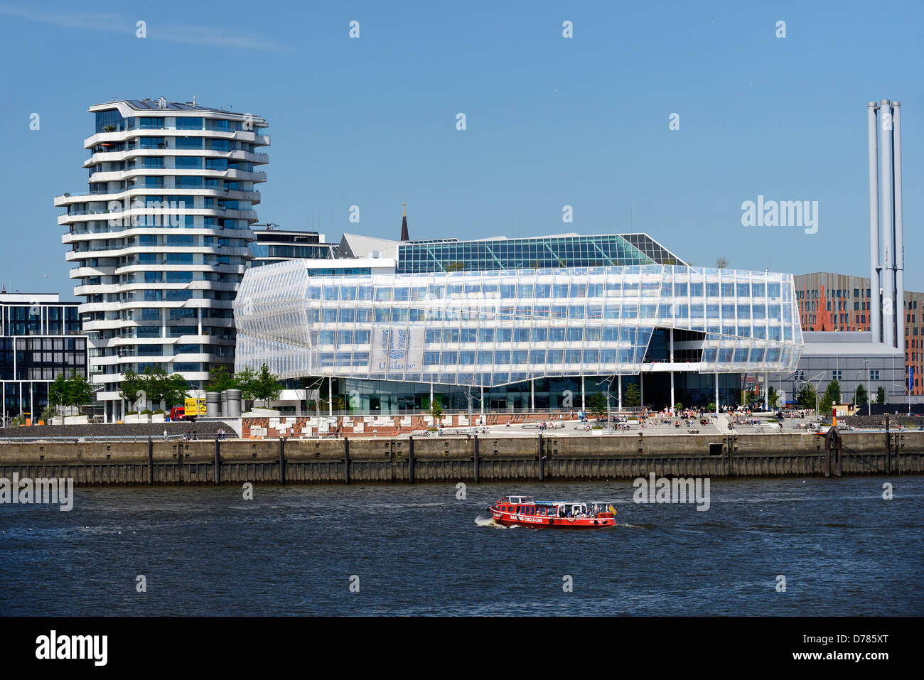 Marco Polo Tower and Unileverzentrale in the beach quay in the harbour city of Hamburg, Germany, Europe - Stock Image