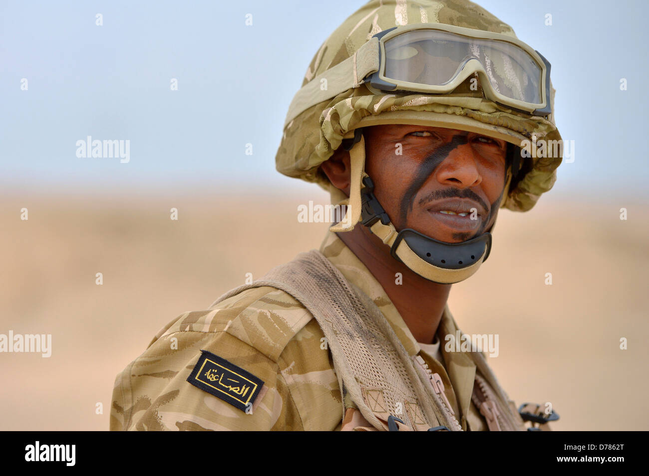 A Qatar Armed Forces soldier during a joint counter-terrorism exercise with US Forces April 28, 2013 in Zikrit, - Stock Image