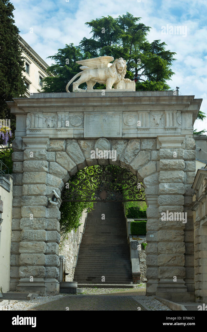 he gate to uphill to the castle of Udine - Stock Image