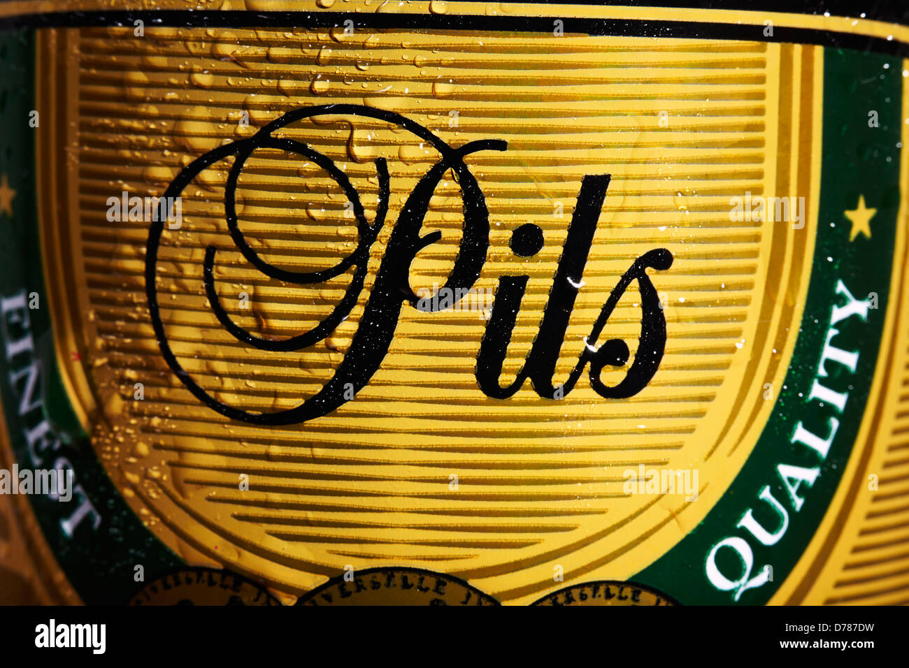 Close up of a Can of Pils Beer - Stock Image