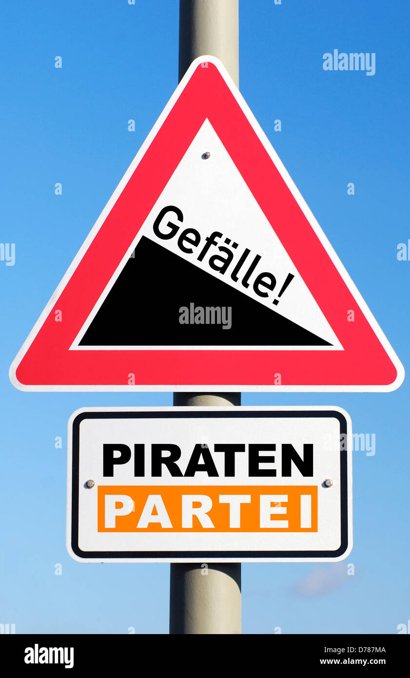 Sign Slope and stroke pirates party, losses of votes - Stock Image
