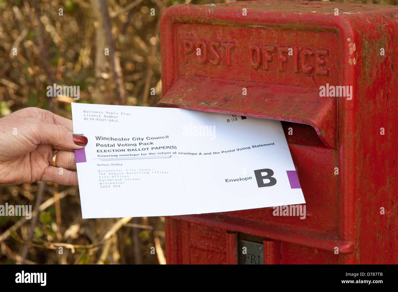 Postal vote envelope being posted in a Royal Mail collection box postal vote envelope posting red letter box letterbox - Stock Image