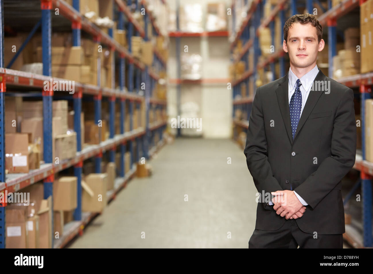 Portrait Of Manager In Warehouse - Stock Image