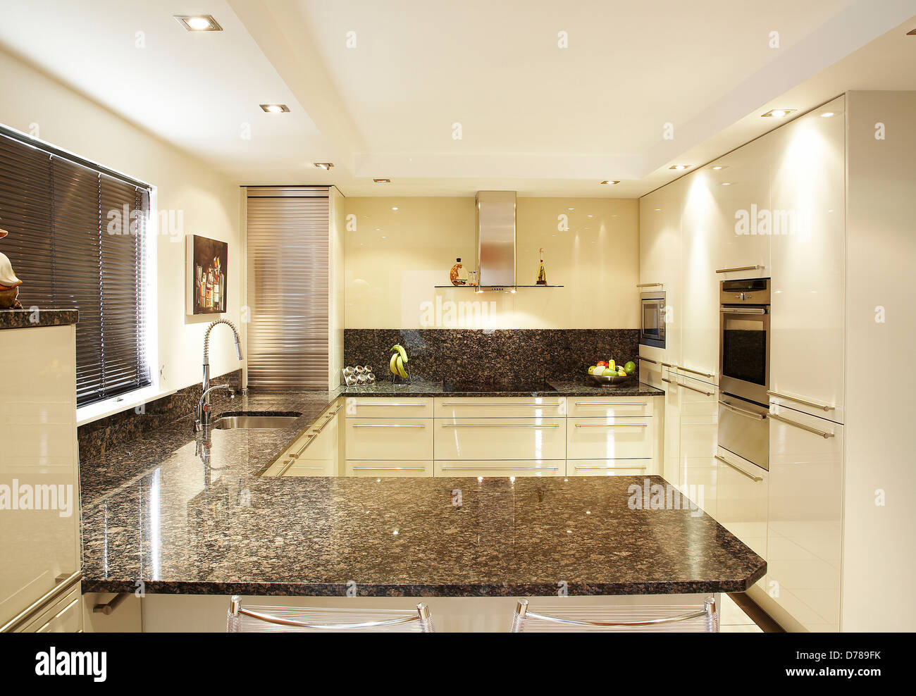 Modern Kitchen Interior With A Granite Work Surface In A House In