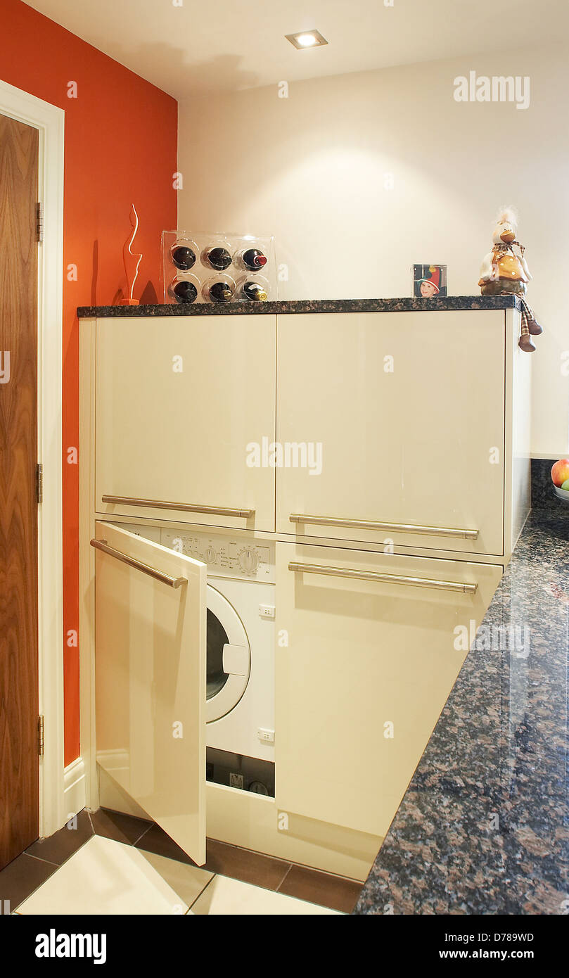 Kitchen Units Used For Concealing Washing Machine And Tumble