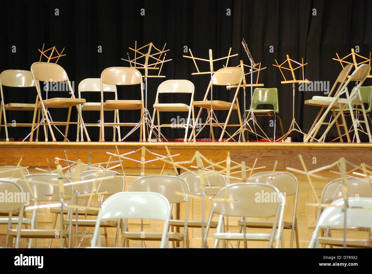 Music Stands And Chairs Setup.   Stock Image