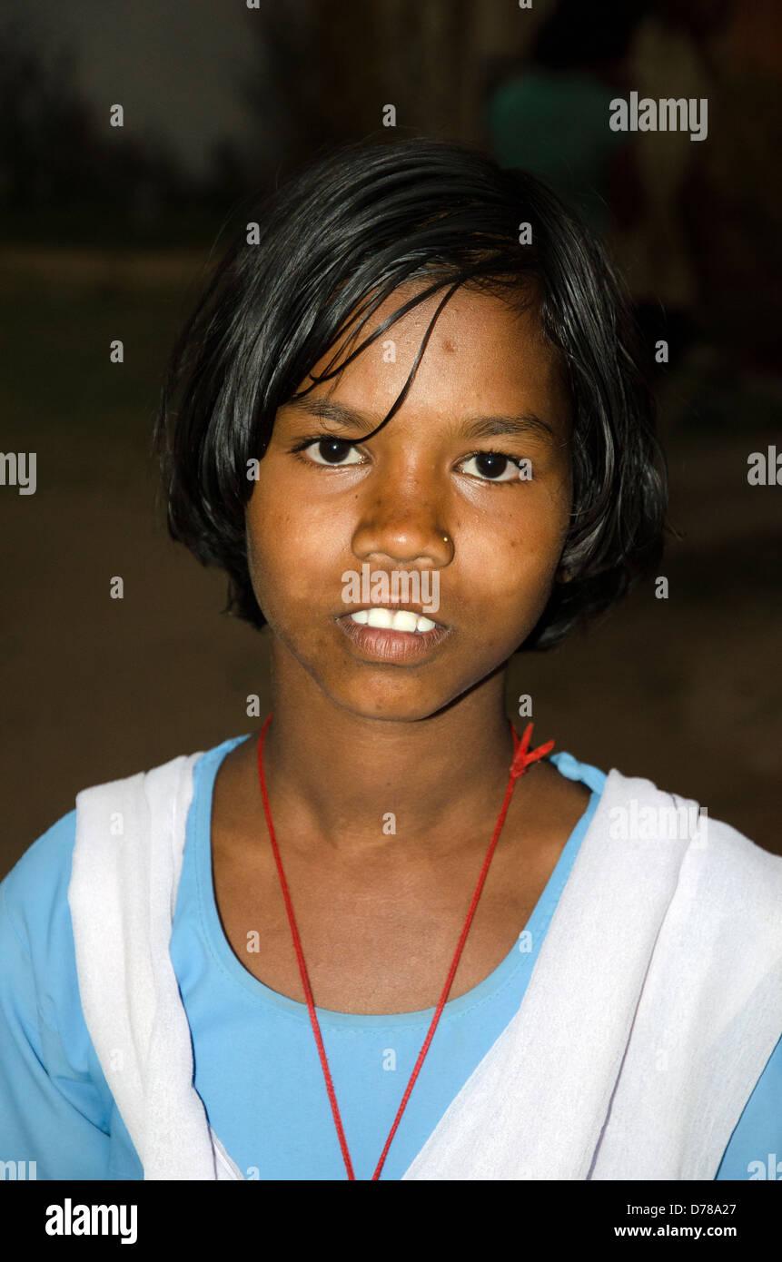 girl pupil,schoolgirl,tala,junior high school,bandhavgarh,madhya pradesh,india - Stock Image