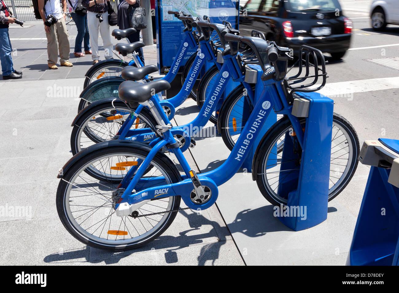 Melbourne bikes on the street near |Federation square, Australia - Stock Image