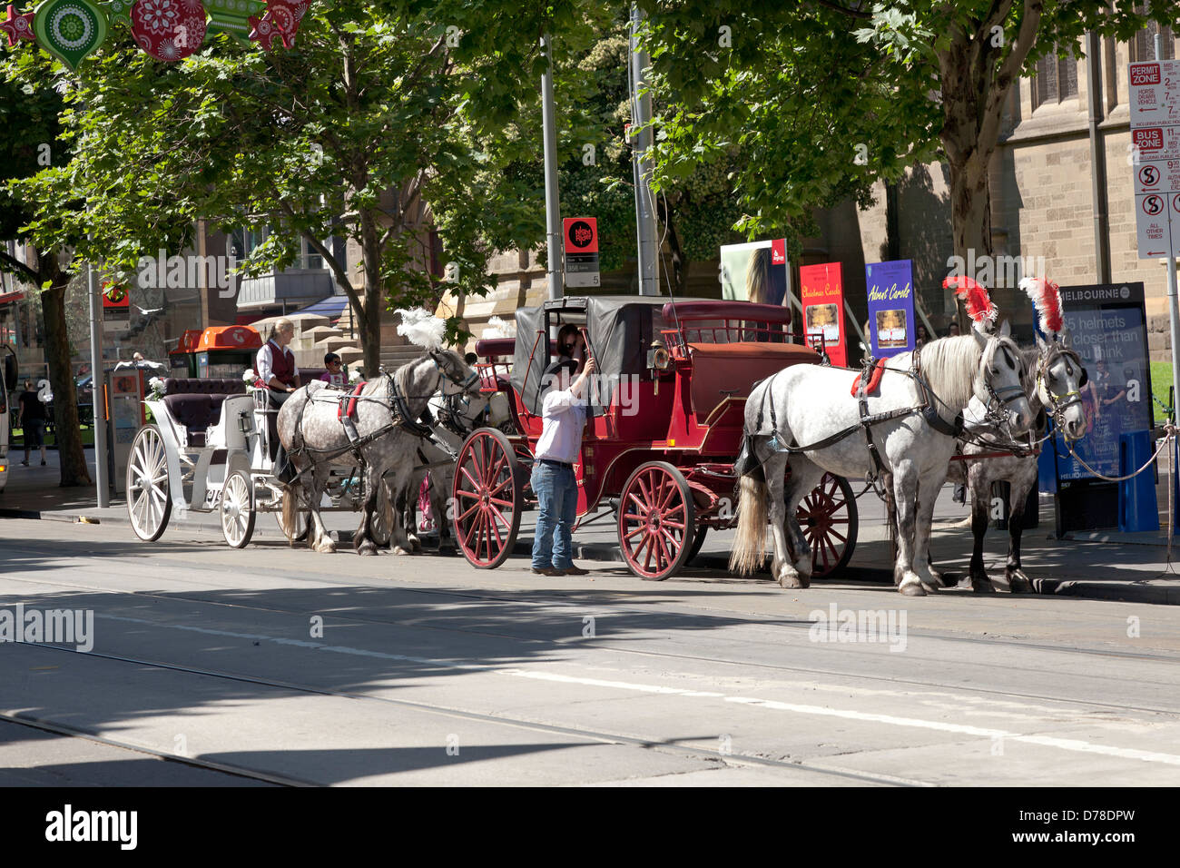 Horse drawn carriages in the streets of Melbourne,Victoria, Australia - Stock Image