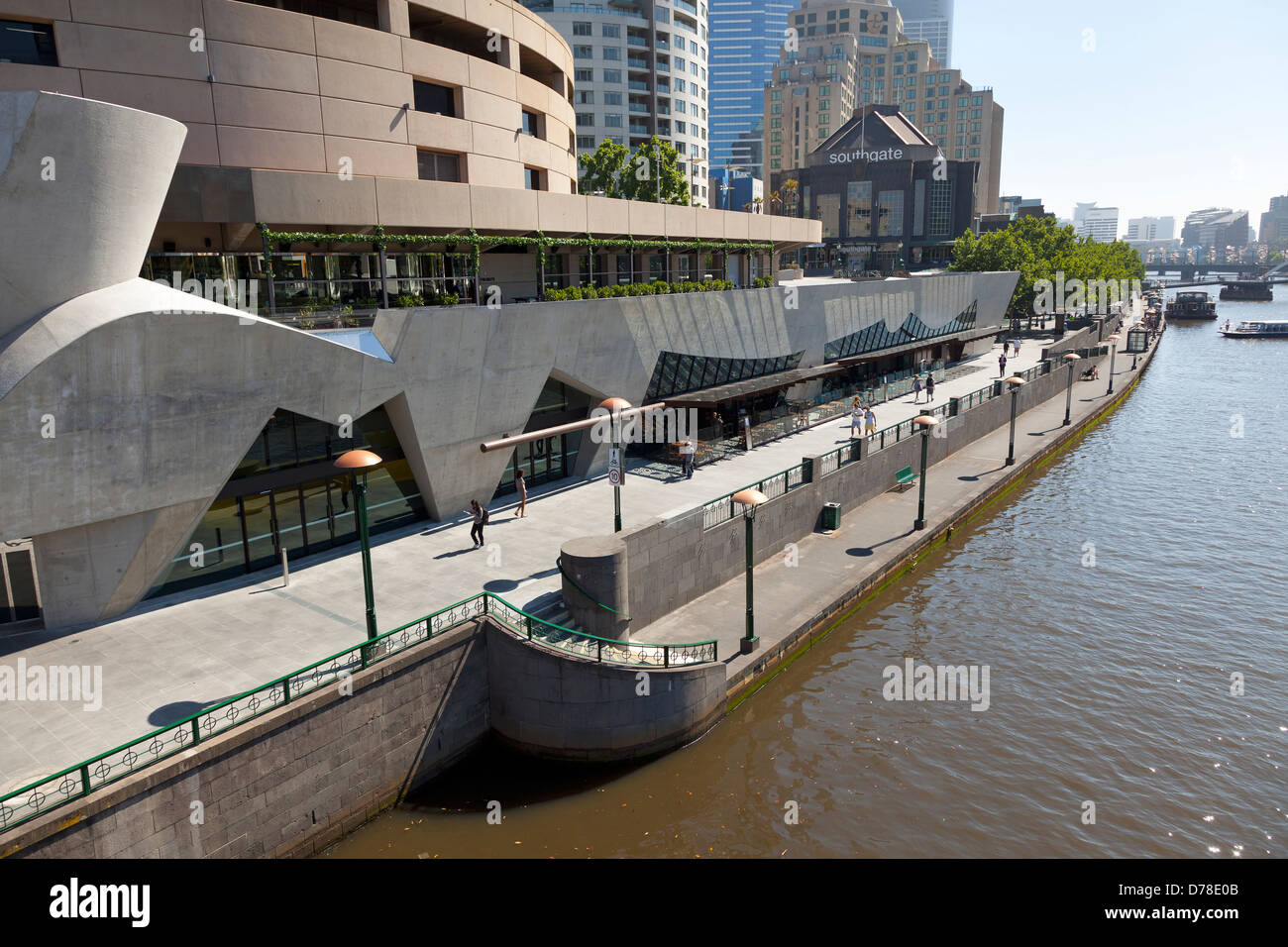 Southbank of the Yarra river Melbourne, Australia - Stock Image