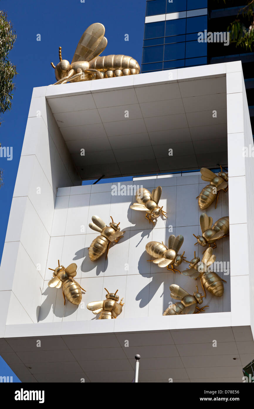 The Queen Bee Colony, artwork at the side of the Eureka Tower, Melbourne,Australia, - Stock Image