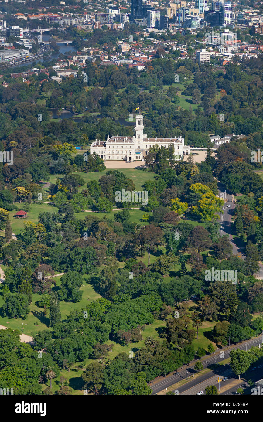 Aerial view of Government House, Melbourne, Australia - Stock Image