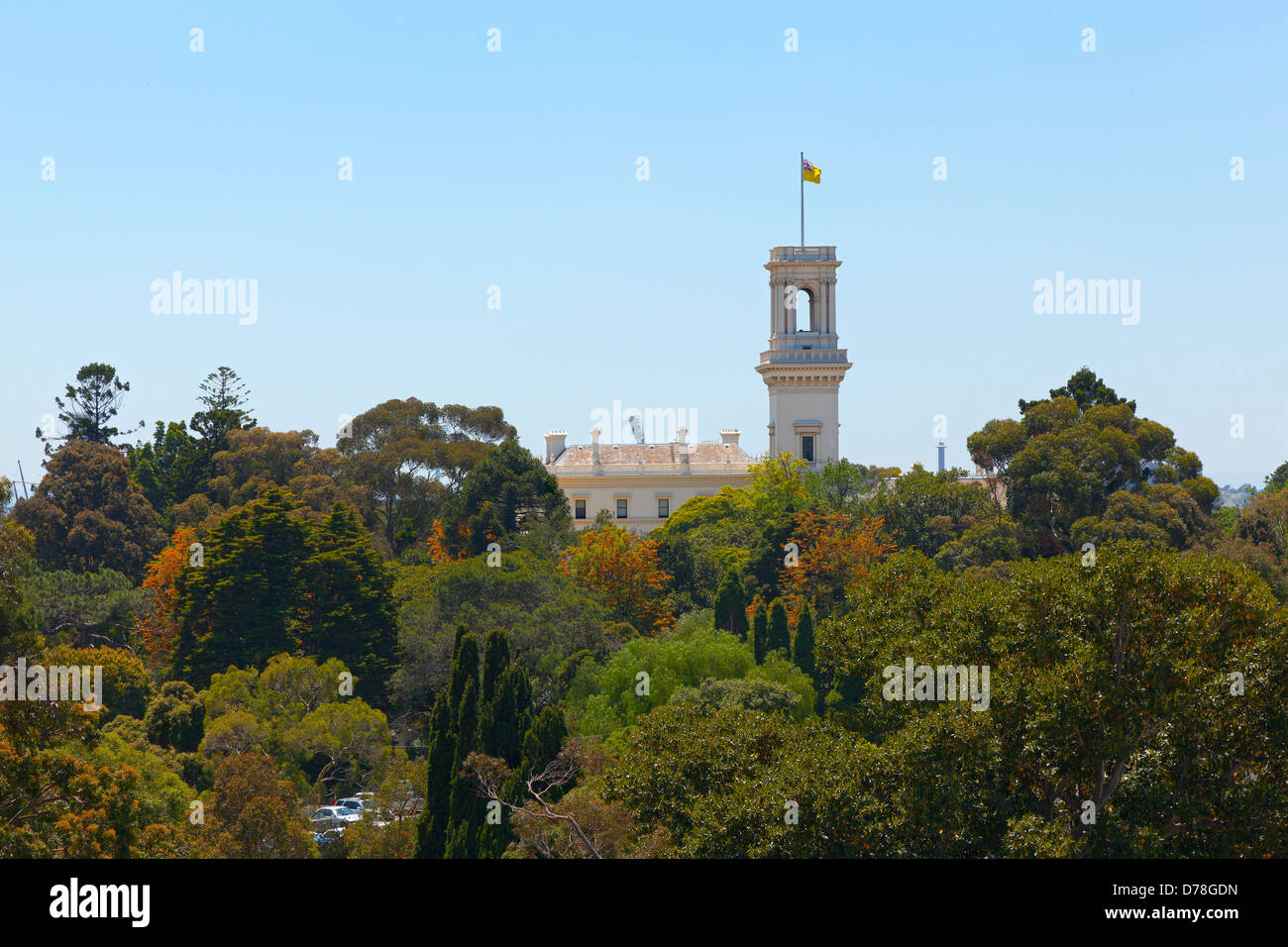 Government Hous and the Royal Botanic Gardens, Melbourne, Australia - Stock Image