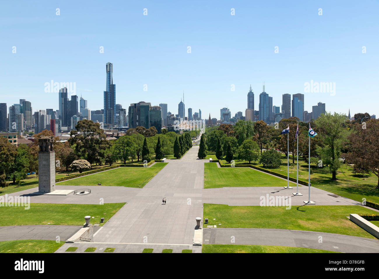 St Kilda Road Street view up to the central city, Melbourne,Australia - Stock Image