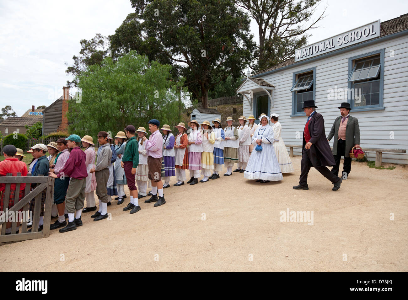 Class in Sovereign Hill's former gold mining site in Ballarat, Australia - Stock Image
