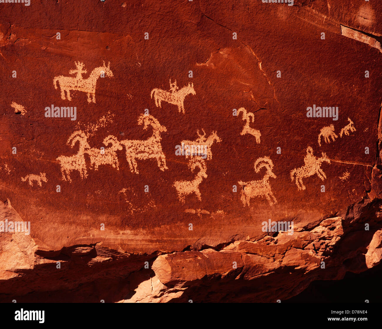 Wolfe Ranch Petroglyph Panel likely Ute in origin Arches National Park Utah. - Stock Image