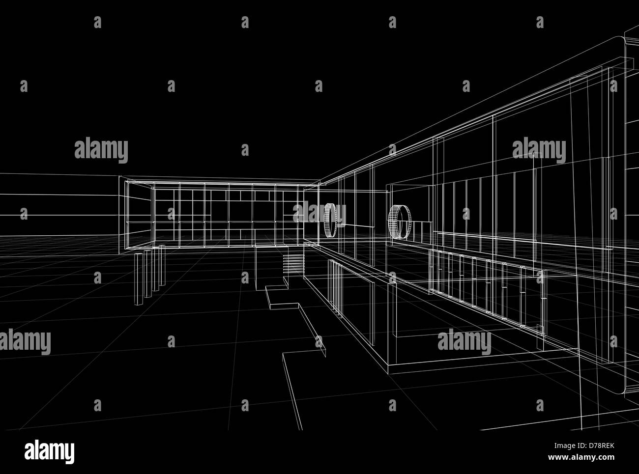Building blueprint on black background building design and 3d model building blueprint on black background building design and 3d model my own malvernweather Choice Image