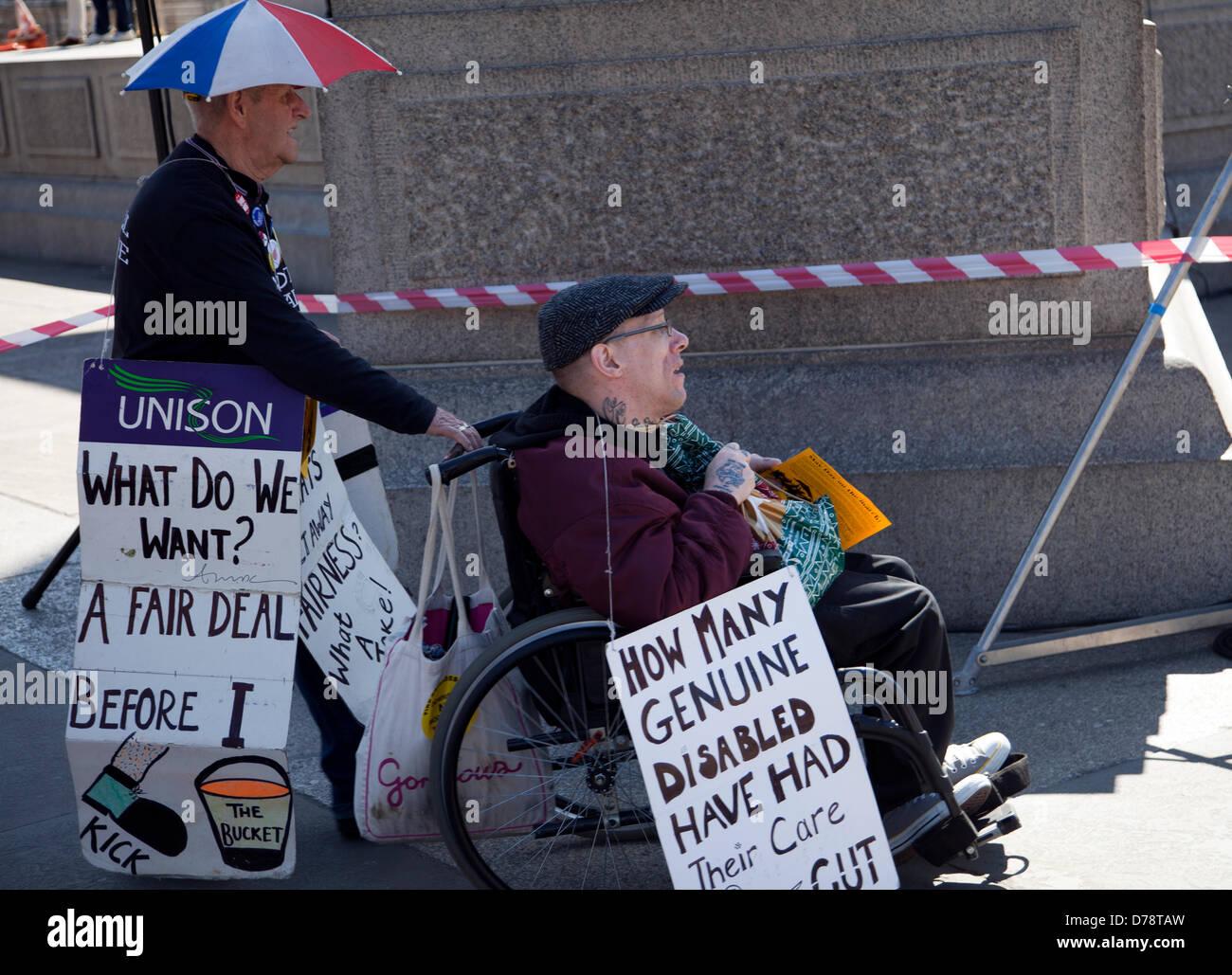 May Day Rally 1 May 2013 - Disability Cuts Campaigners - London UK Stock Photo