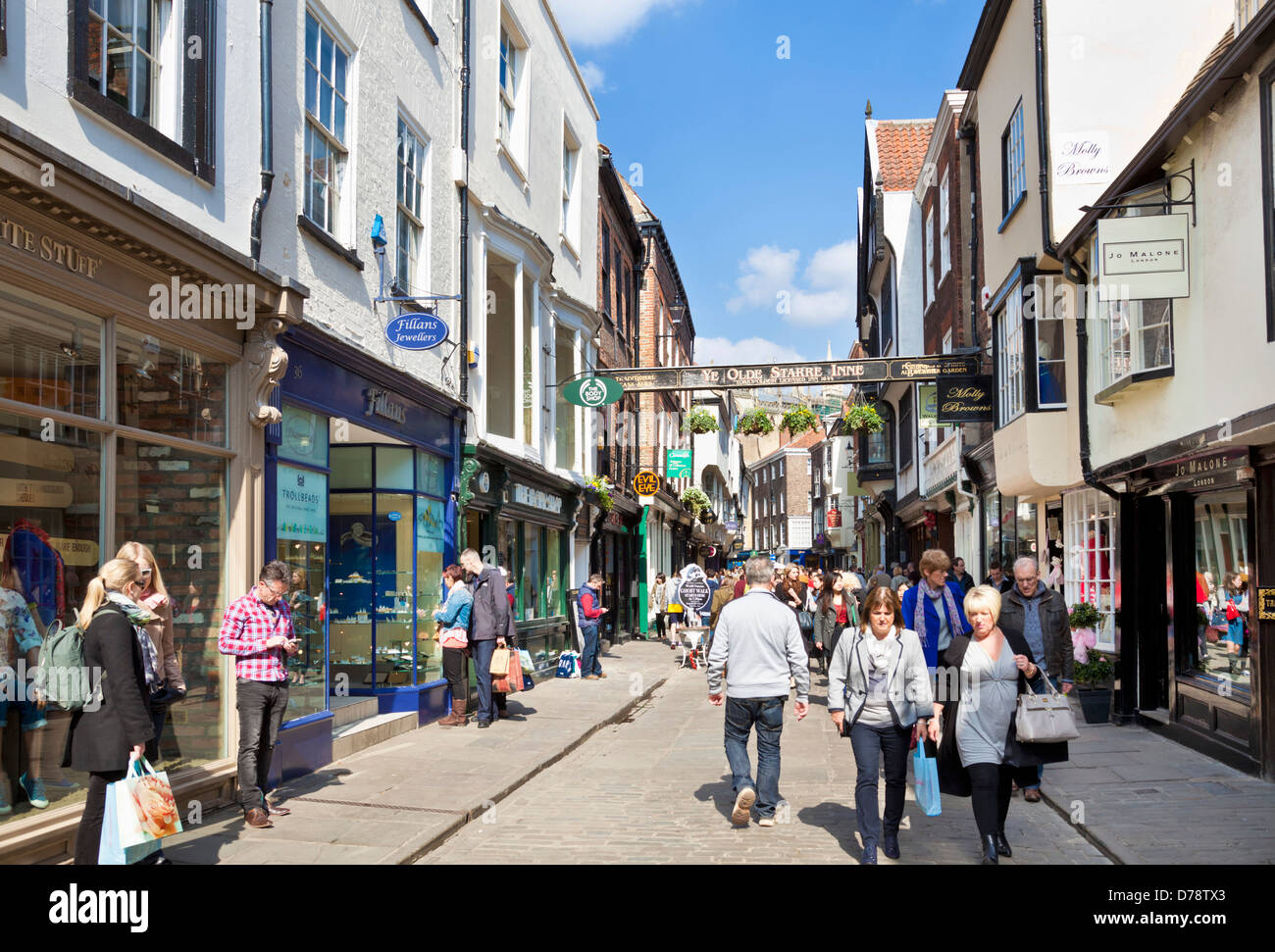 Stonegate in the city of York is a busy shopping street, York city centre North Yorkshire England UK GB Europe Stock Photo