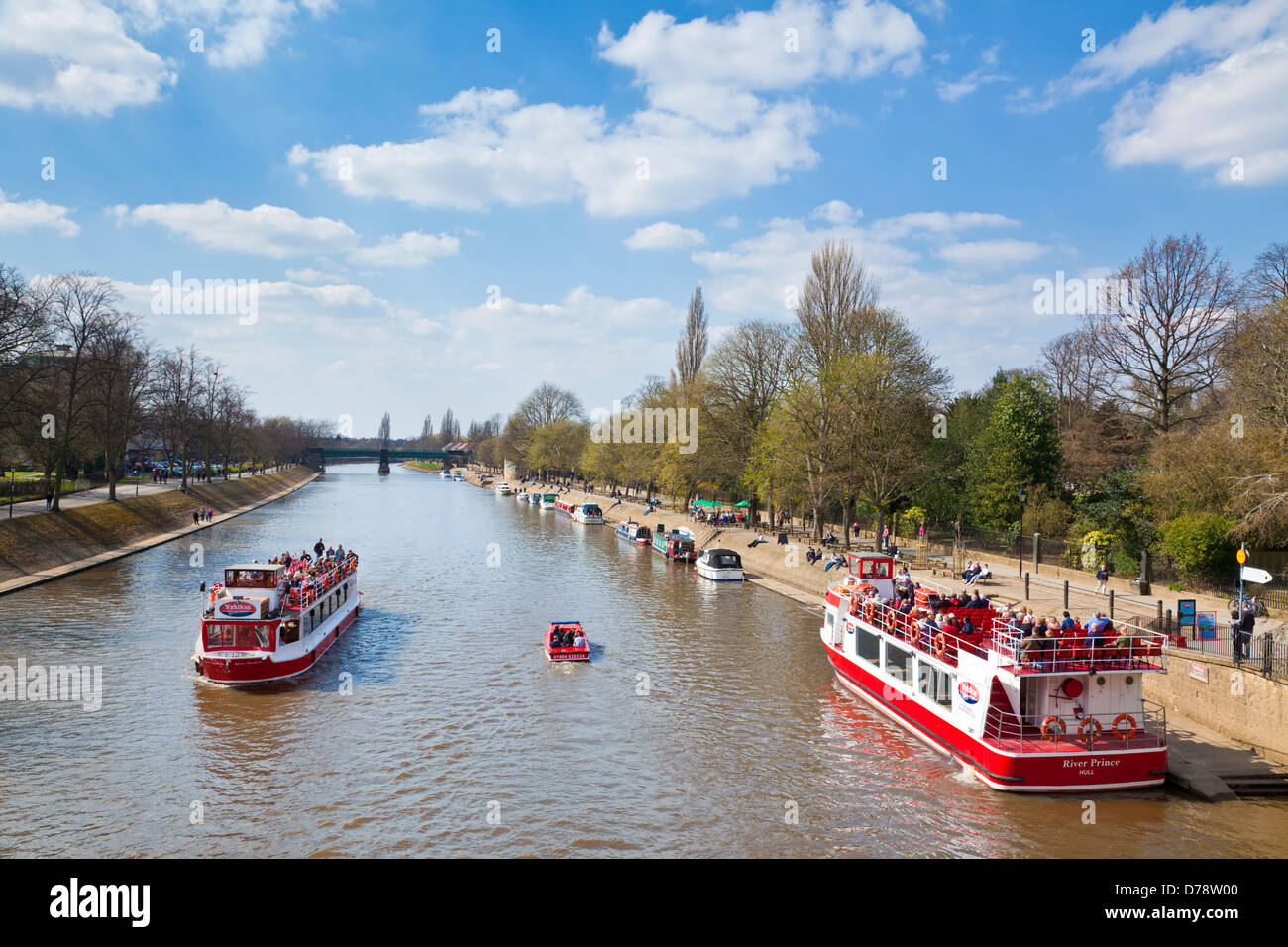 York river boat cruises on the river Ouse departing from the boatyard at Lendal bridge York city centre North Yorkshire - Stock Image