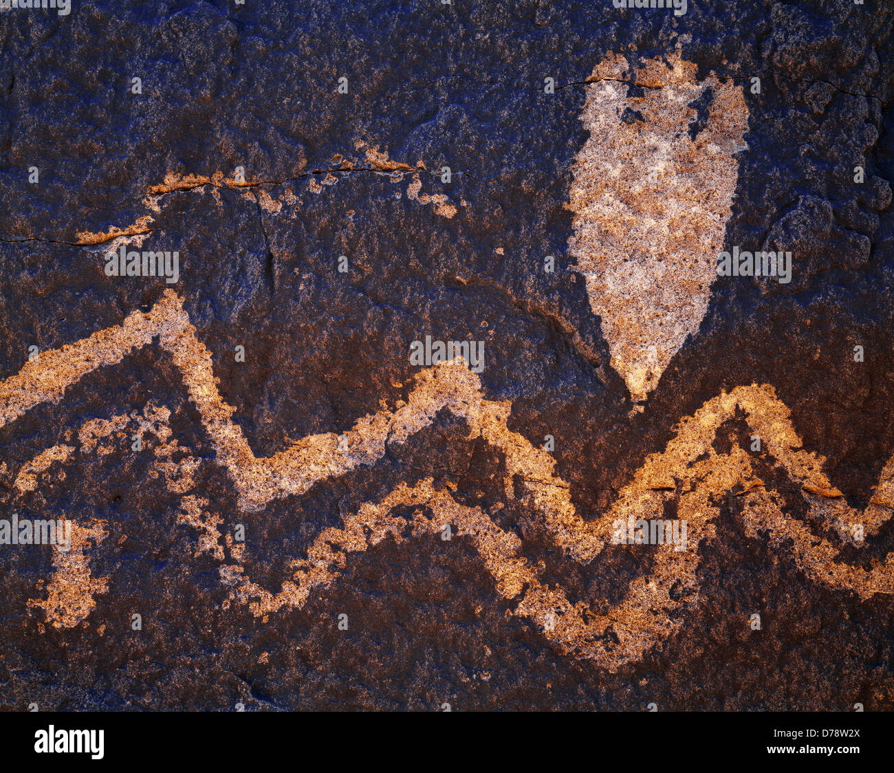 Archaic hunting-gathering petroglyphs Chihuahuan Desert featuring spear point design wavy lines Hudspeth County - Stock Image