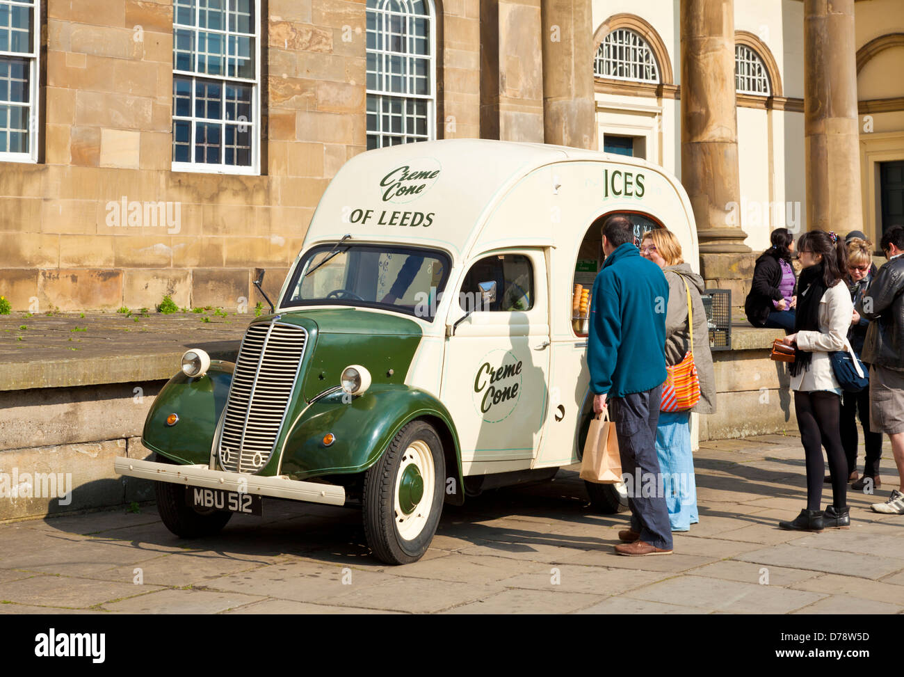 Old fashioned ice cream van outside the York Castle Museum Eye of York or Castle Green York North Yorkshire England - Stock Image