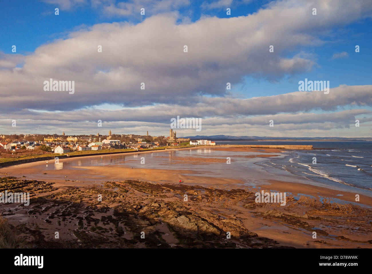 East Sands, St Andrews, showing the harbour buildings and cathedral. - Stock Image