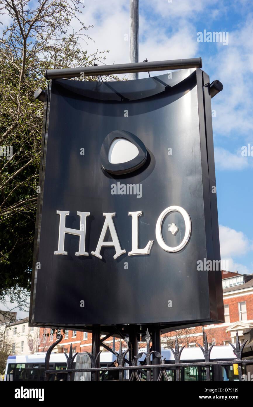 Sign outside the Halo nightclub on the University of Leeds campus, Leeds, West Yorkshire, UK - Stock Image