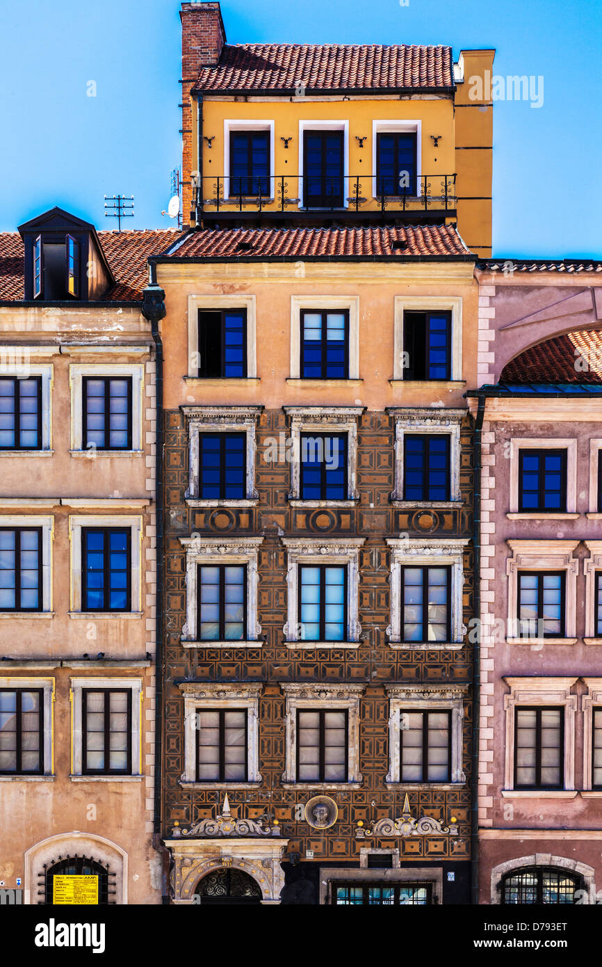 Facade of restored medieval merchant's house around Stary Rynek, Old Town Market Place in Warsaw, Poland. - Stock Image