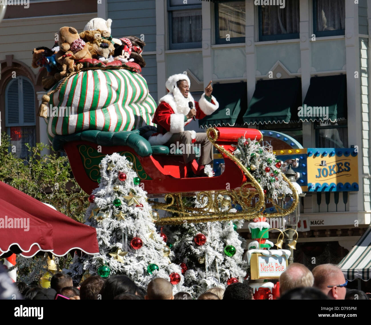 Christmas Day Parade.Nick Cannon Dressed Up As Santa Claus As He Films For The