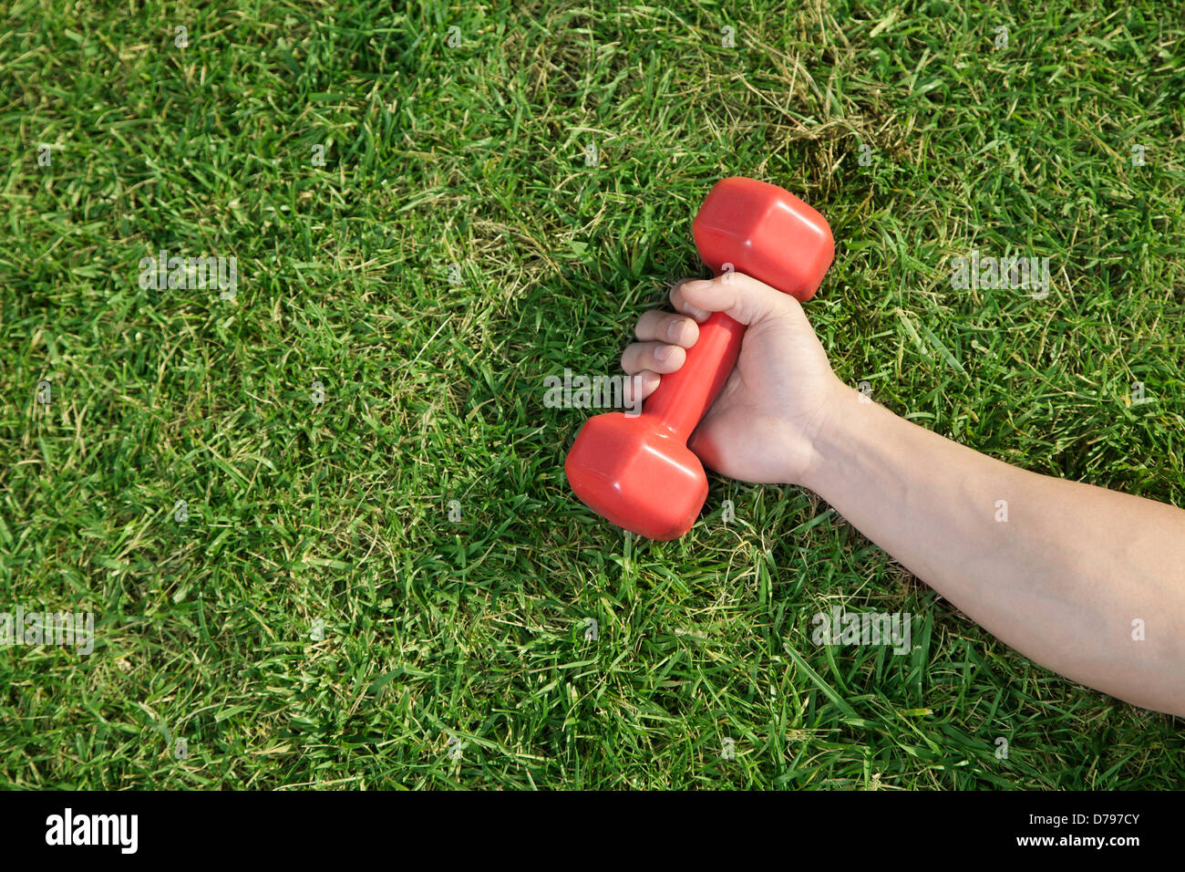 Close Up on Hand Holding Red Dumbbell in Grass - Stock Image