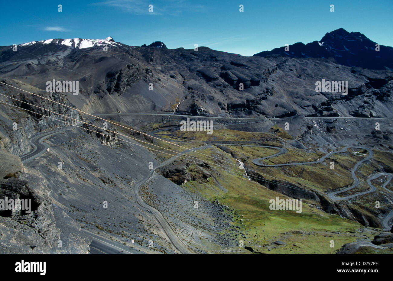 Bolivia Cordillera Real Mountains La Cumbre Pass Eroded Slopes - Stock Image