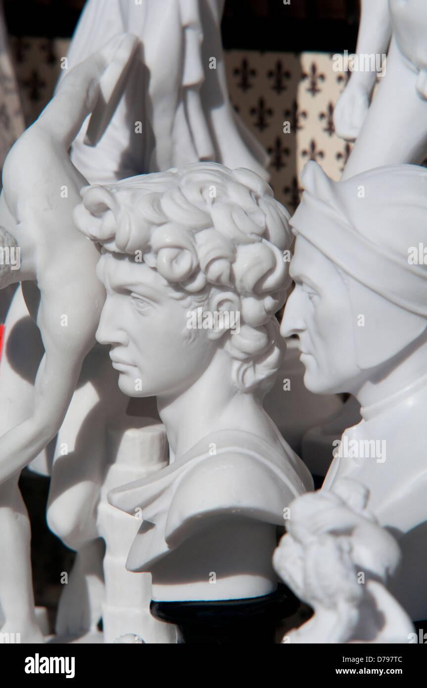 Italy, Tuscany, Florence, Souvenir Shop, Michelangelo David and Dante Alighieri Souvenirs - Stock Image