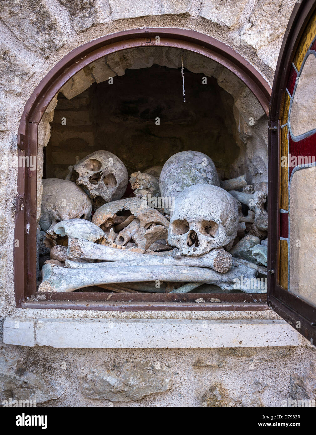 An Ossuary containing bones of former monks and Priests at Spiliotisa Monastery, near Itilo, Inner Mani, Peloponnese, - Stock Image