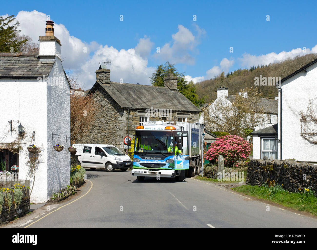 Refuse collection in the village of Near Sawrey, Lake District National Park, Cumbria, England UK - Stock Image