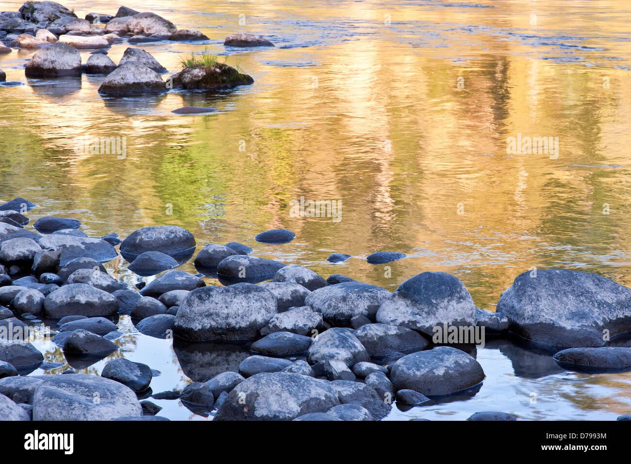 Autumn reflections, Clackamas River. - Stock Image