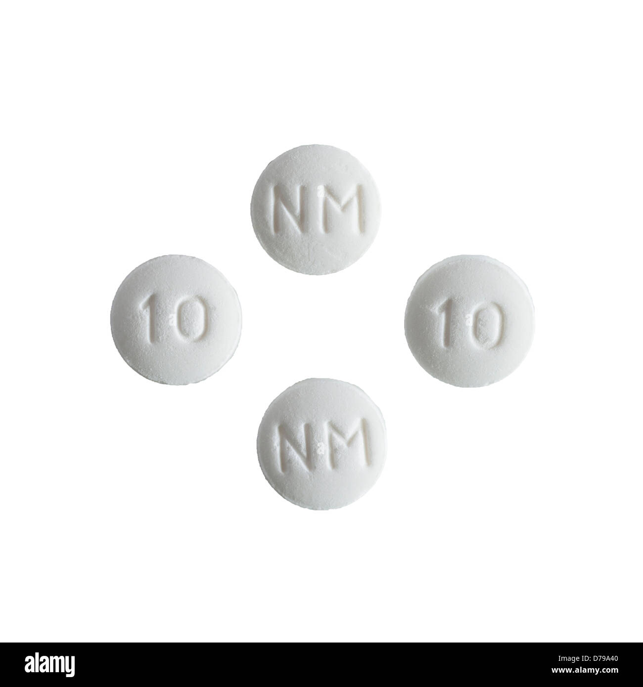 Nortriptyline tablets on a white background - Stock Image