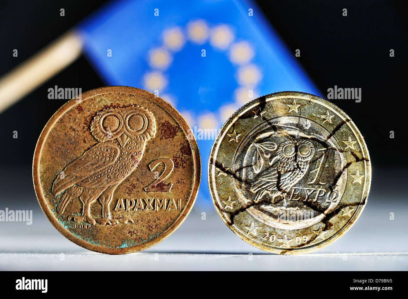Greek drachm, Greek euro-coin one and EU flag , Griechische Drachme, griechische Ein-Euro-Münze und EU-Fahne Stock Photo