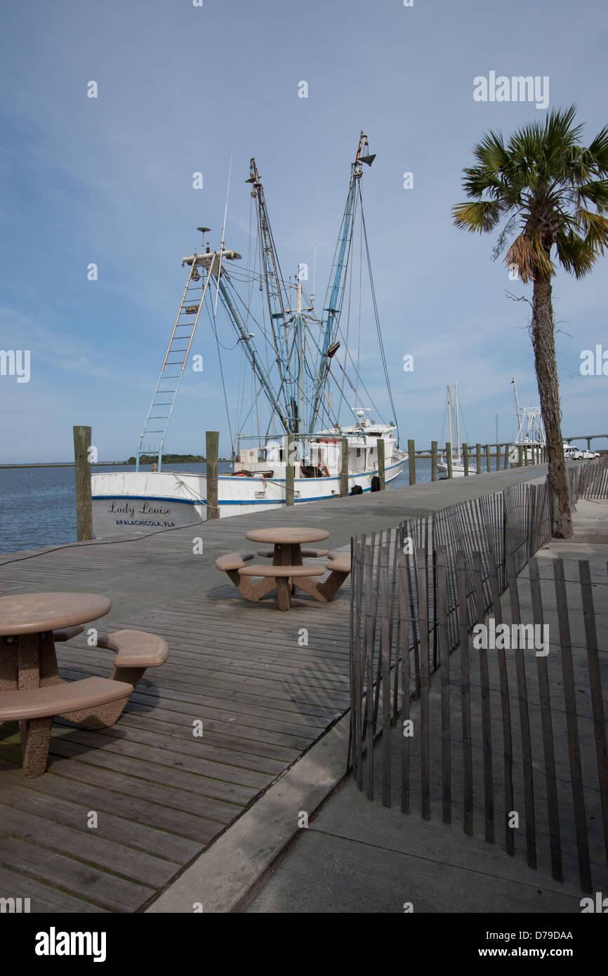 Shrimp boat docked at Waterfront Park, Apalachicola, Florida, USA - Stock Image