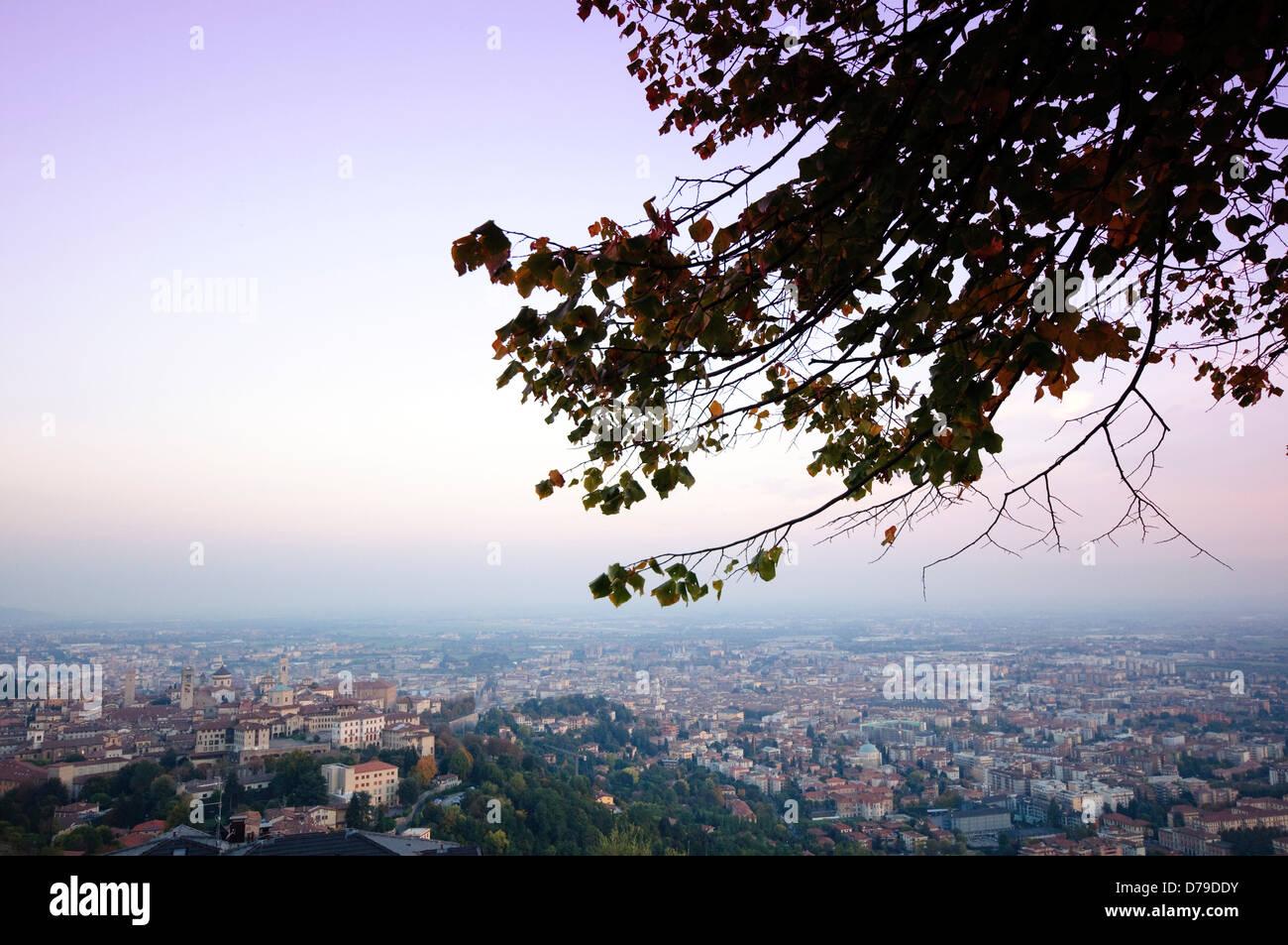Italy, Lombardy, Bergamo, Citta Alta High Town, Seen From San Vigilio at Sunset - Stock Image