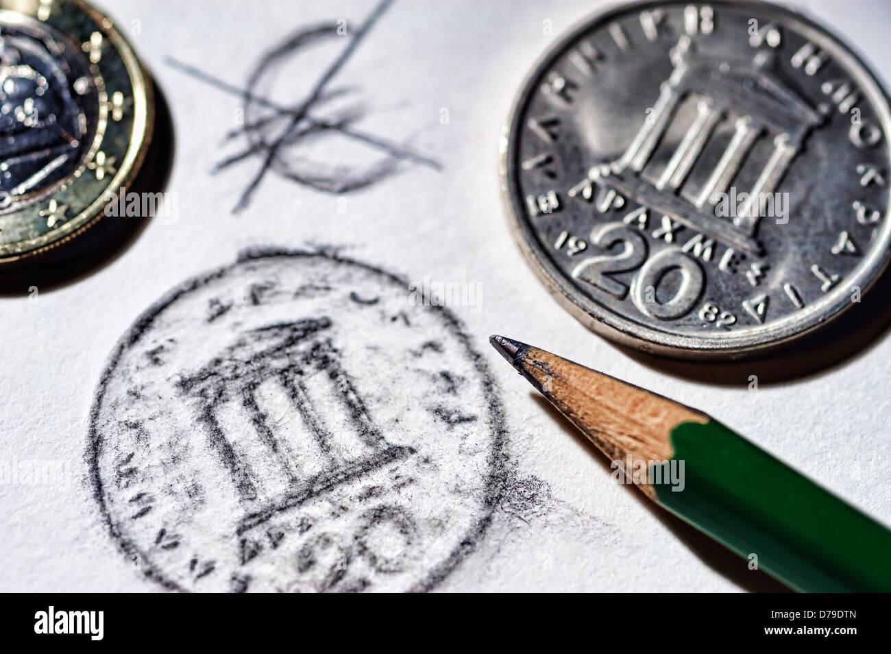 Greek drachm and crossed out eurosign , Griechische Drachme und durchgestrichenes Eurozeichen - Stock Image