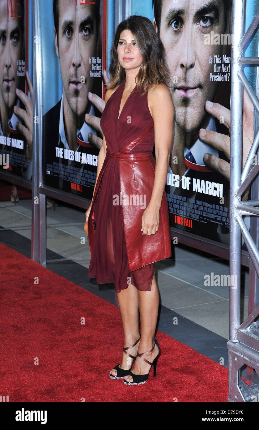 Marisa Tomei The premiere of 'The Ides Of March' held at the Academy theatre - Arrivals Los Angeles, California - Stock Image