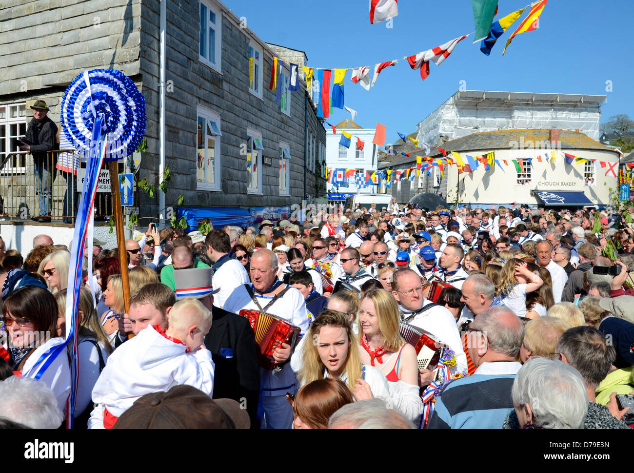 The annual Obby Oss May Day celebrations in Padstow, Cornwall, UK - Stock Image