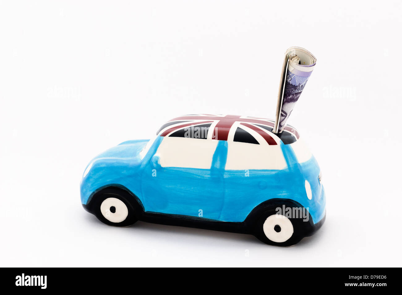 Car money box stuffed with notes - Stock Image