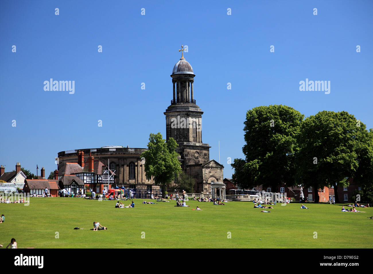 St Chad's Church and the Quarry, Shrewsbury, England - Stock Image