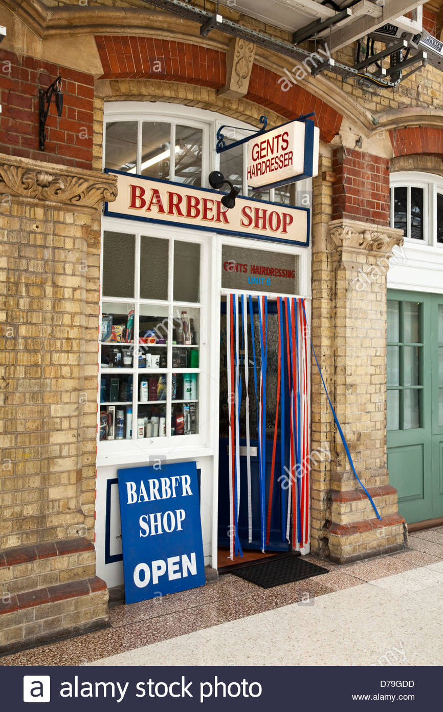 Barber Shop situated in Eastbourne Railway Station, East Sussex, England Stock Photo