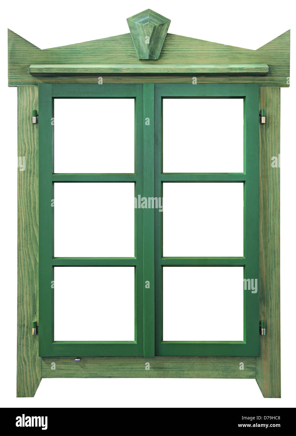 Green wooden window isolated on white background - Stock Image