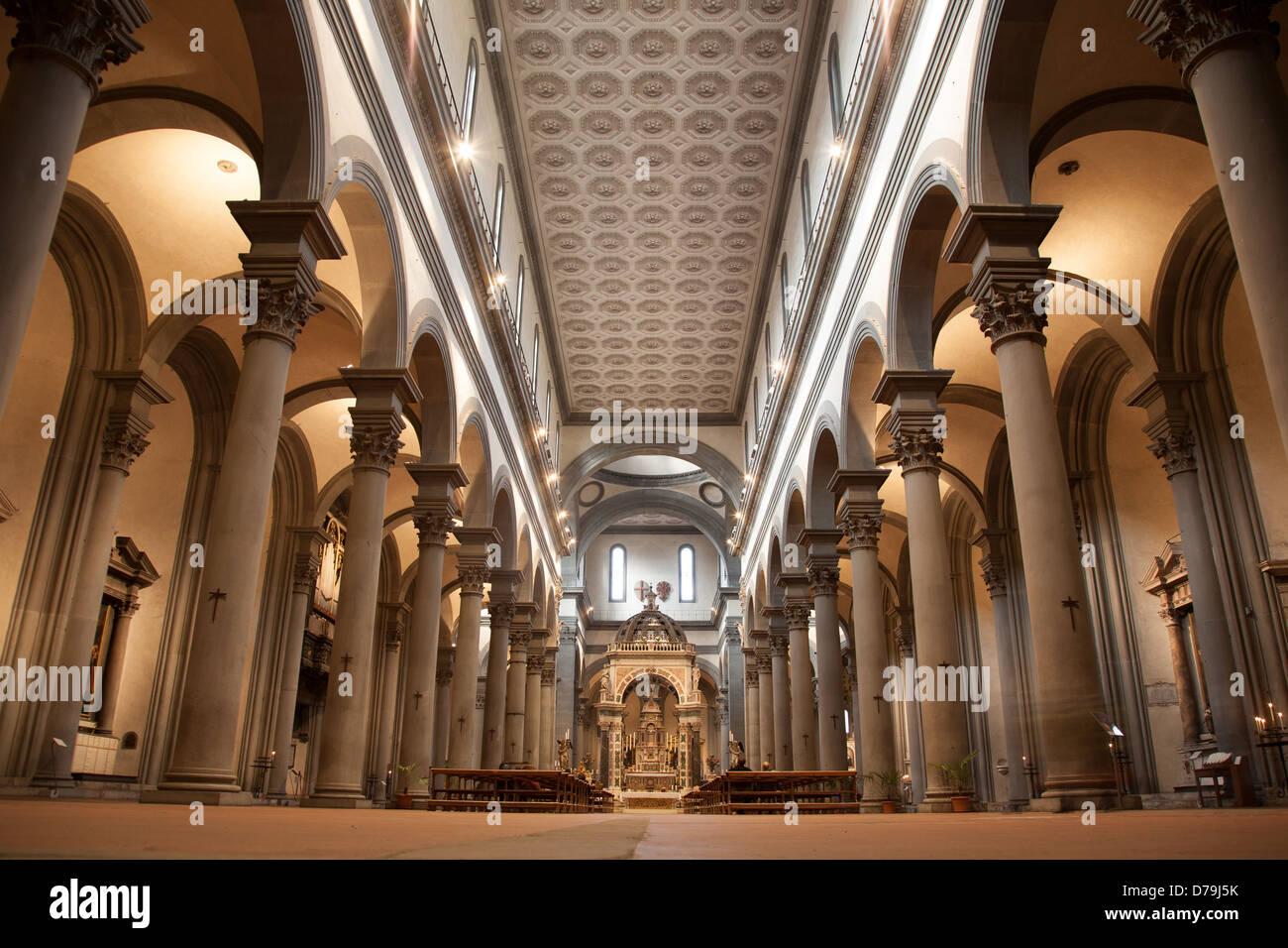 Nave of Santo Spirito Church, Florence, Italy - Stock Image