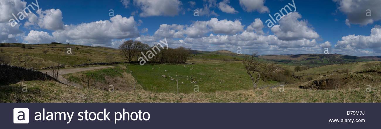 High Peaks above Hope  Castleton Derbyshire England Panorama - Stock Image