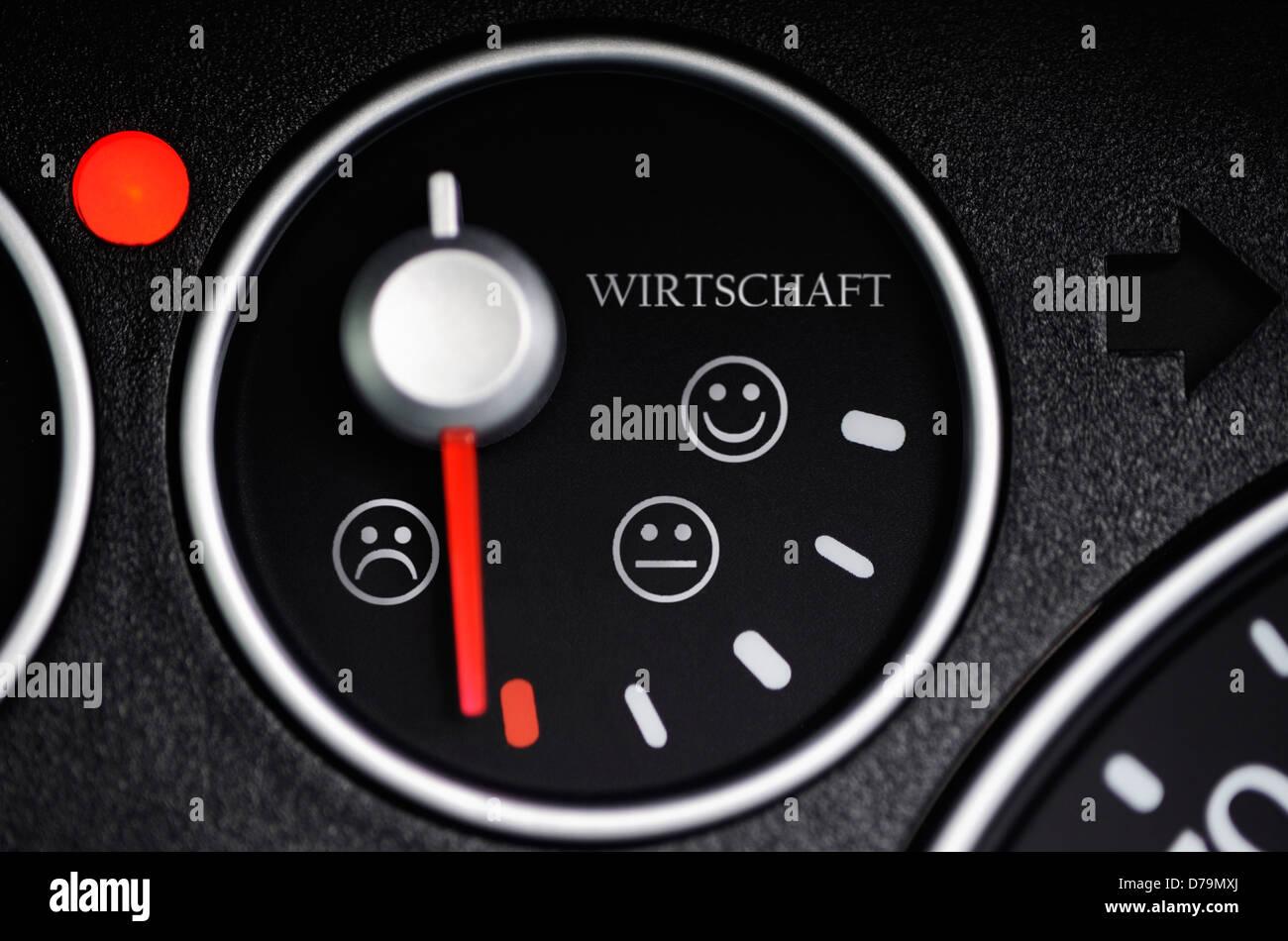 Tank announcement with Smileys and stroke economy, business barometre , Tankanzeige mit Smileys und Schriftzug Wirtschaft, - Stock Image